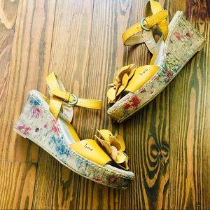 Yellow Flower BOC Platform Sandals